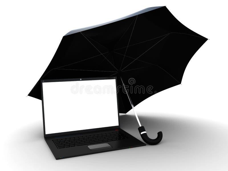 Laptop Under Umbrella Stock Photos