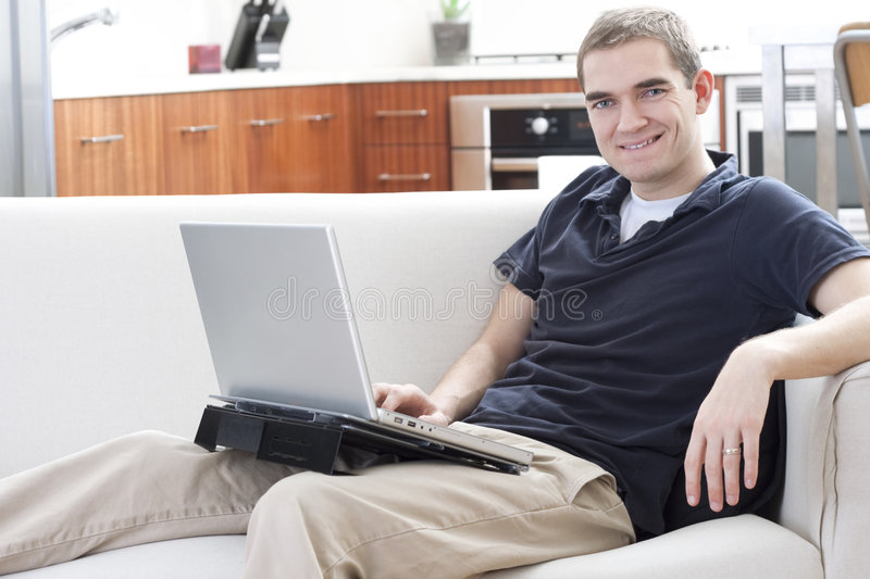 Download Laptop User stock photo. Image of adult, home, smiling - 8247984