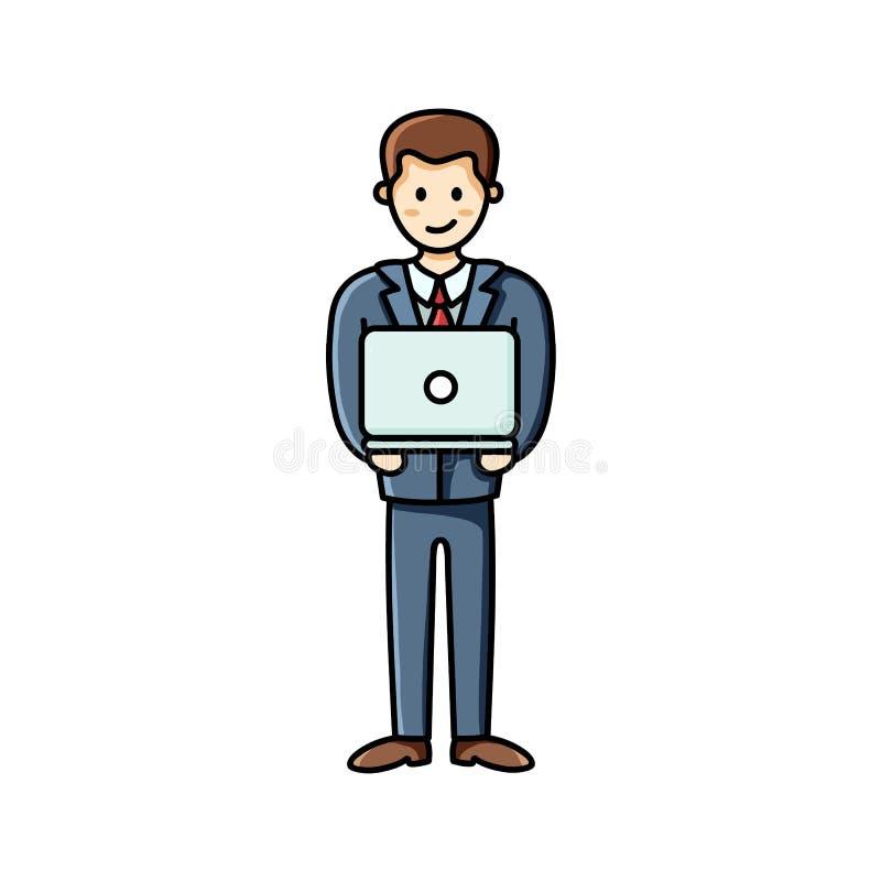 Laptop van de bedrijfsmensenholding Het Element van Infographic Op een roze achtergrond met palmbladen vector illustratie