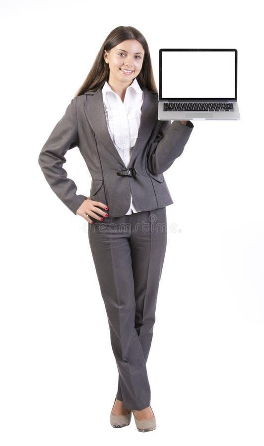 Laptop van de bedrijfsvrouwenholding computer royalty-vrije stock foto