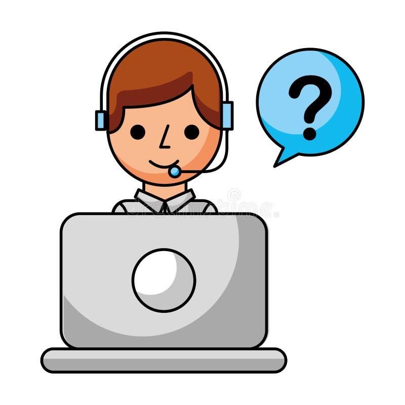 Laptop van de call centrejongen de vraag van de toespraakbel royalty-vrije illustratie