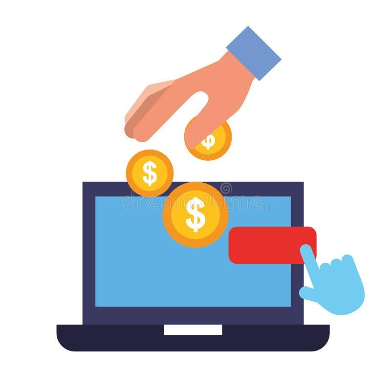 Laptop van de handholding de muntstukken betalen klik het online winkelen stock illustratie