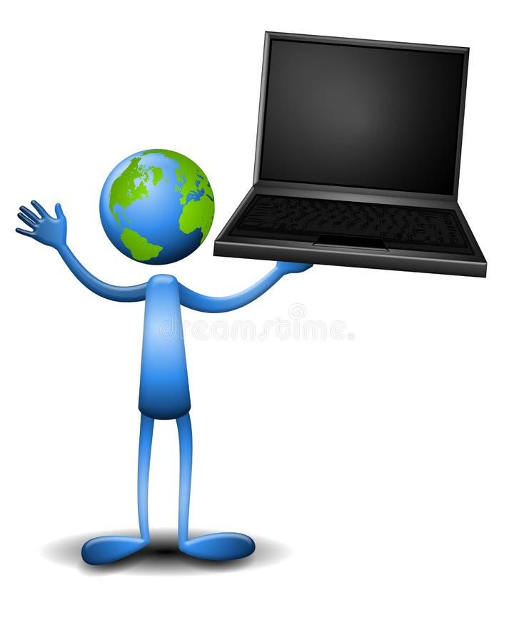 Laptop van de Holding van de Kerel van de aarde royalty-vrije illustratie