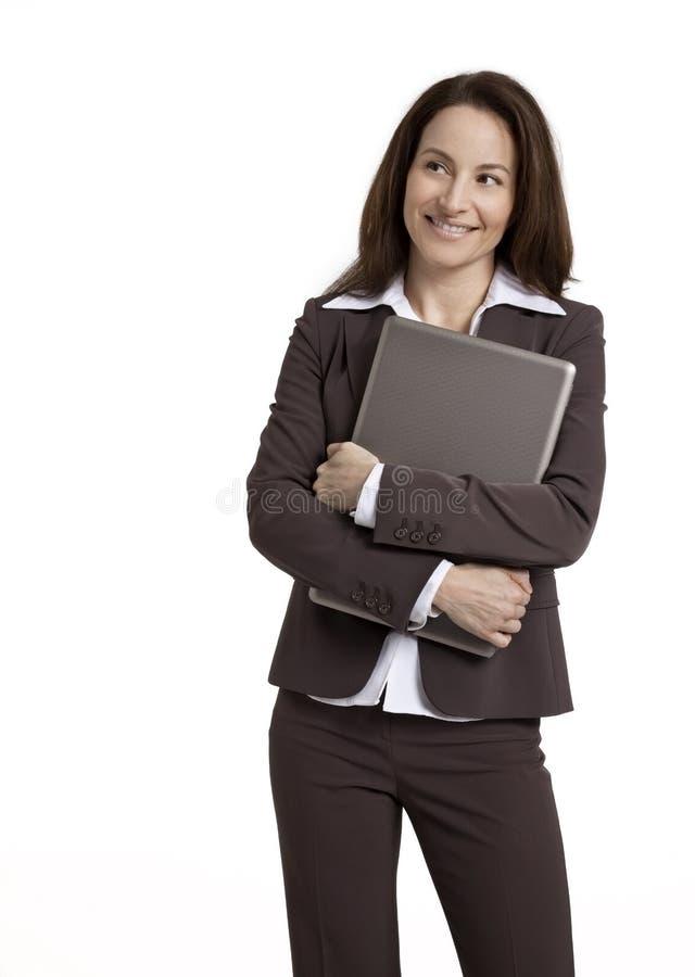 Laptop van de Holding van de onderneemster royalty-vrije stock afbeelding