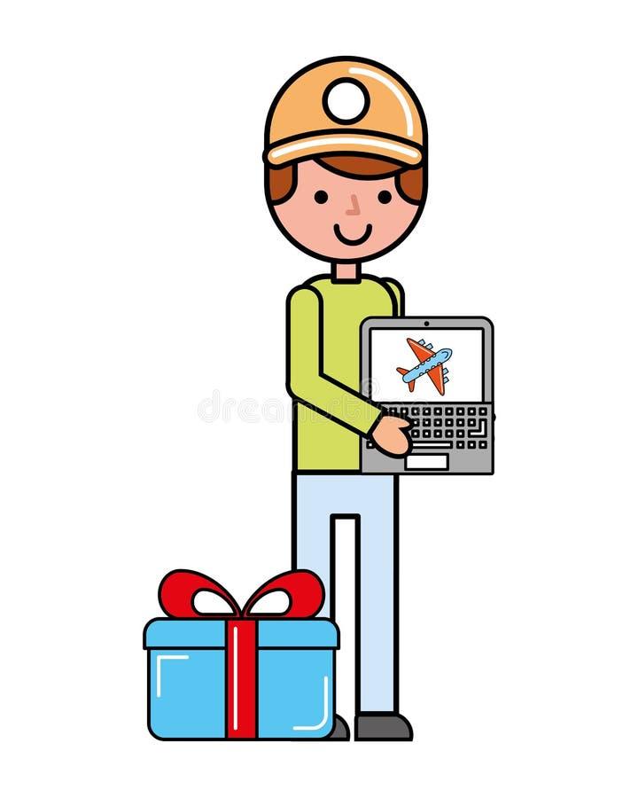 Laptop van de klantenmens het volgen gift het online winkelen stock illustratie