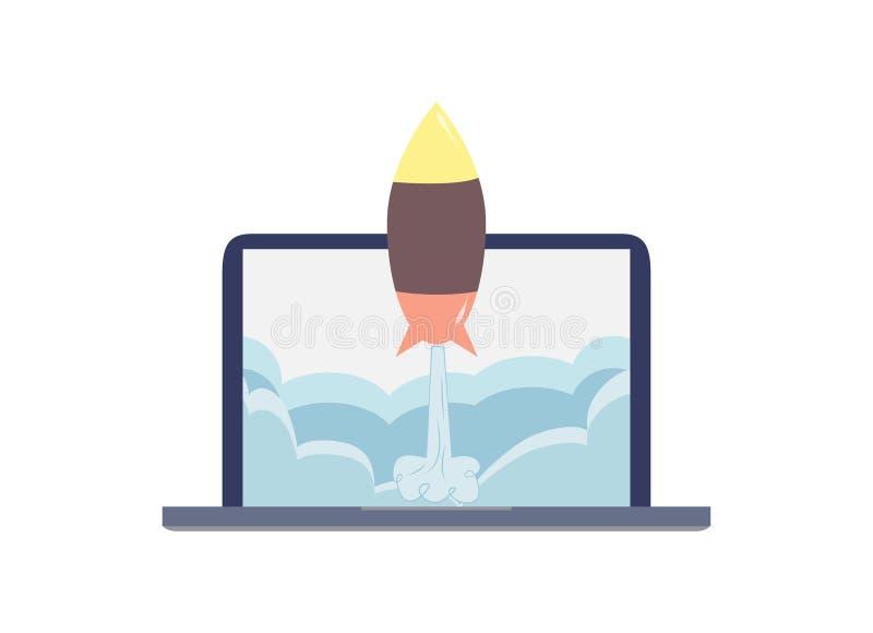 Laptop van de Start raketstart ontsteking stock illustratie