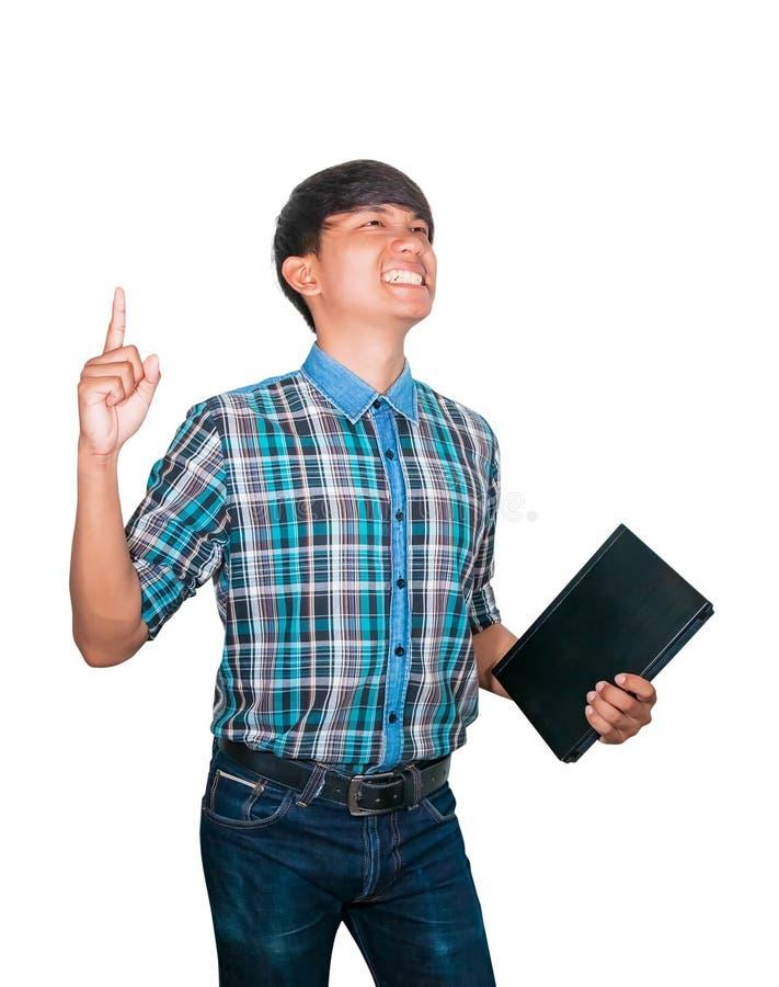 Laptop van de zakenman zekere jonge gebruikende computer en opgeheven hand op witte achtergrond stock afbeeldingen