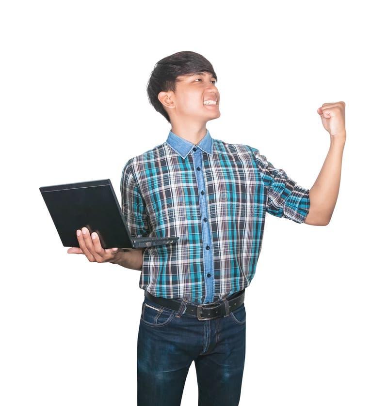Laptop van de zakenman zekere jonge gebruikende computer en opgeheven hand op witte achtergrond royalty-vrije stock foto