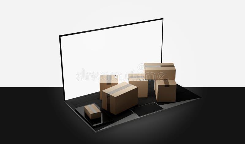 Laptop van het computernotitieboekje de 3d-illustratie van de pakkettenlevering royalty-vrije illustratie