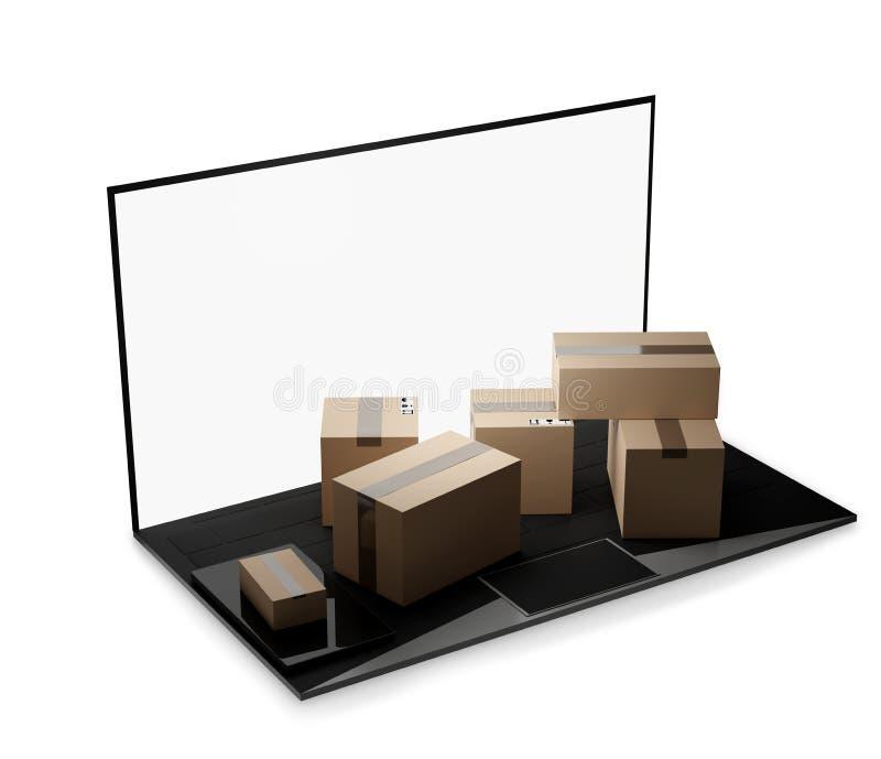 Laptop van het computernotitieboekje de 3d-illustratie van de pakkettenlevering vector illustratie