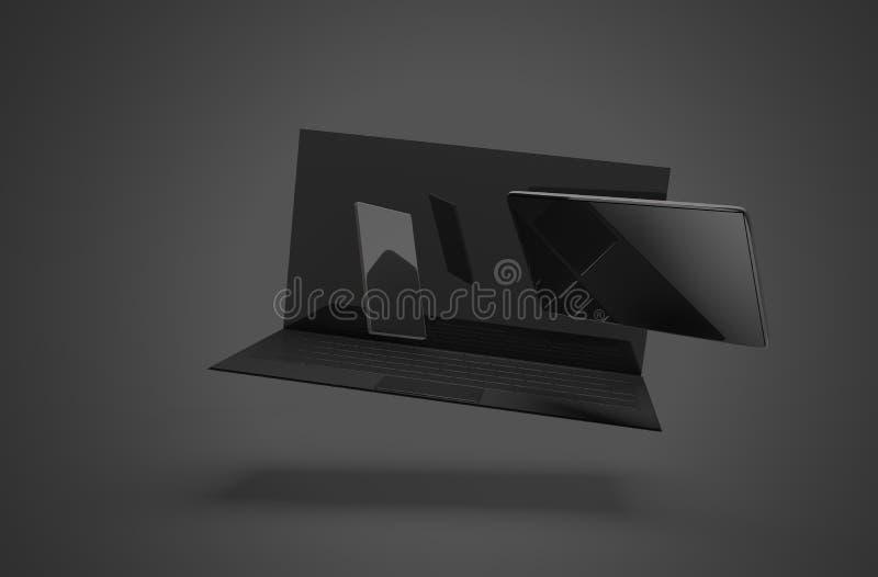 Laptop van het computernotitieboekje tablet-computer mobiele telefoon 3d-illustratie stock illustratie