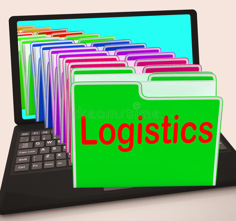 Laptop van logistiekomslagen betekent plannend Organisatie en Coordina vector illustratie