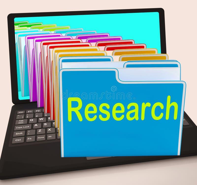 Laptop van onderzoekomslagen betekent Onderzoek Verzamelt Gegevens en royalty-vrije illustratie