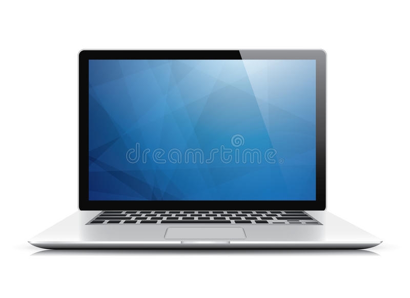 Laptop vector met blauw abstract behang stock illustratie