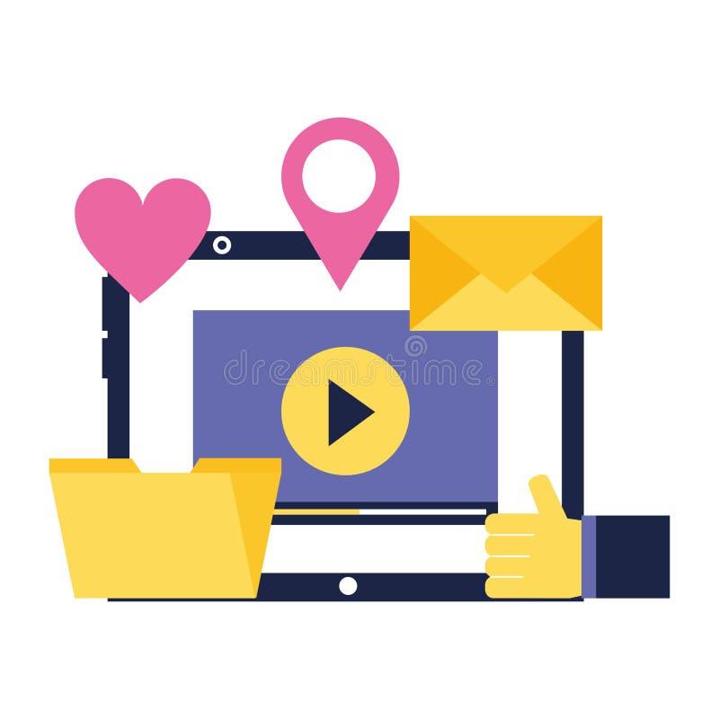 Laptop video email folder love location social media. Vector illustration stock illustration
