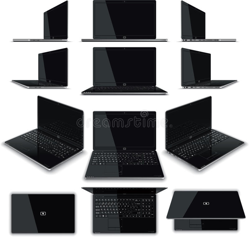 Laptop 12 Views Kit. Vector illustration of a laptop - multiple views. Generic elegant, glossy design, full keyboard with Numerical Pad, full array of royalty free illustration