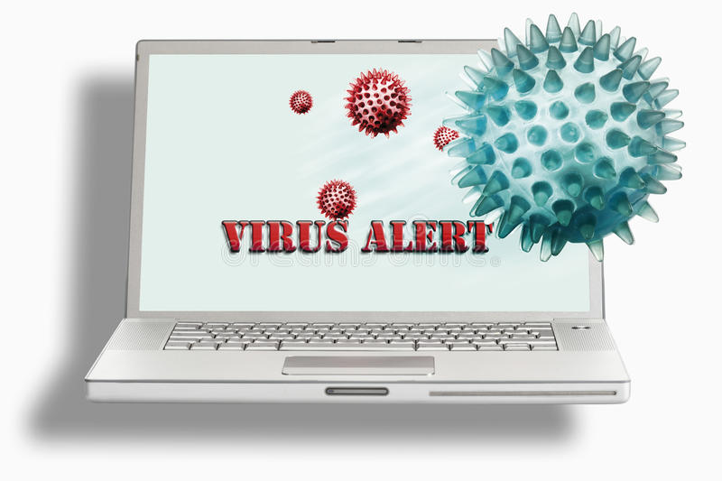 Laptop with virus ball against white background royalty free stock photography