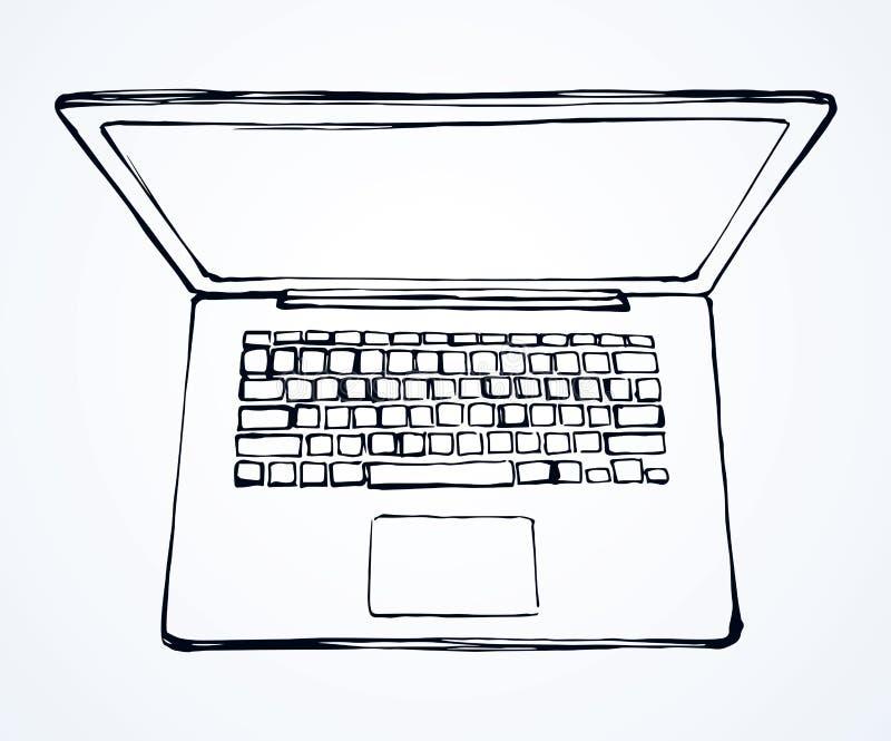 Laptop Visión desde arriba Gráfico del vector stock de ilustración