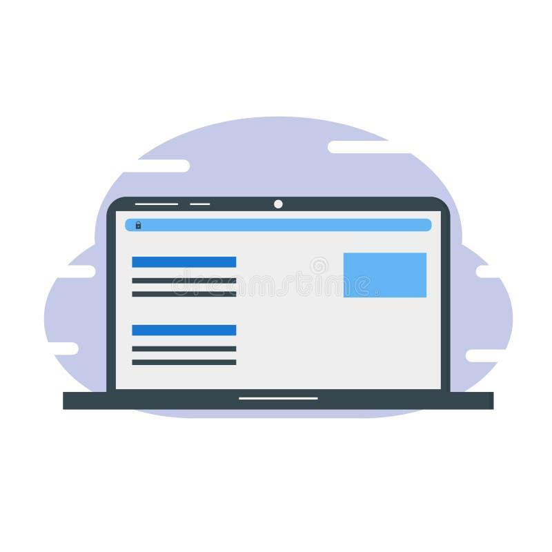 Laptop voor het zoeken van informatie in Webbrowser met veilige verbinding stock illustratie