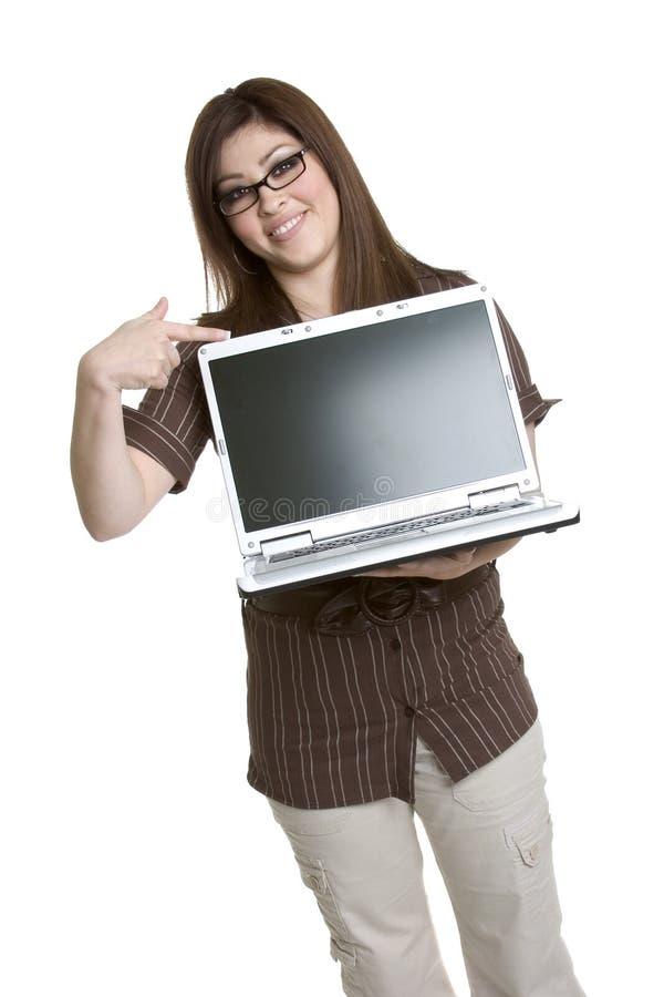 Laptop Vrouw royalty-vrije stock foto