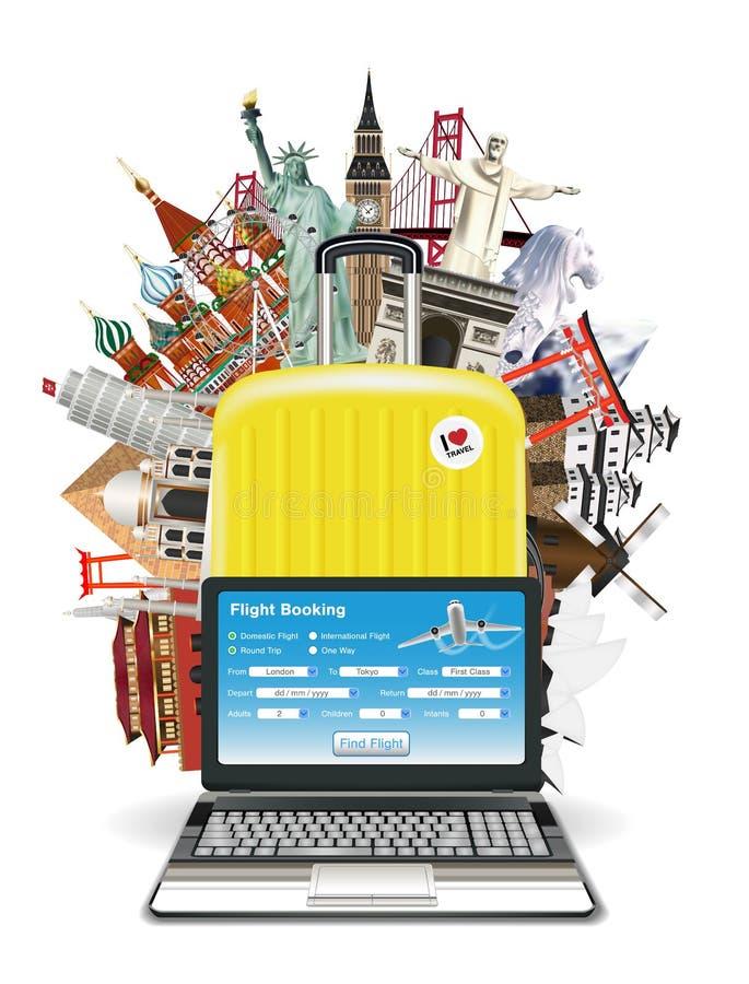 Laptop walizki podróży torba z światowym punktem zwrotnym royalty ilustracja