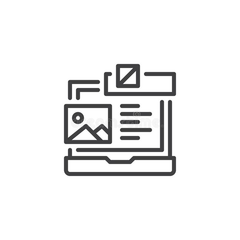 Laptop with Web design planning outline icon stock illustration