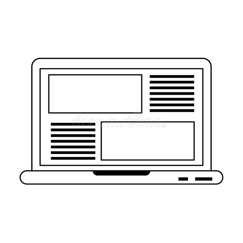 Laptop website browsing isolated in black and white vector illustration