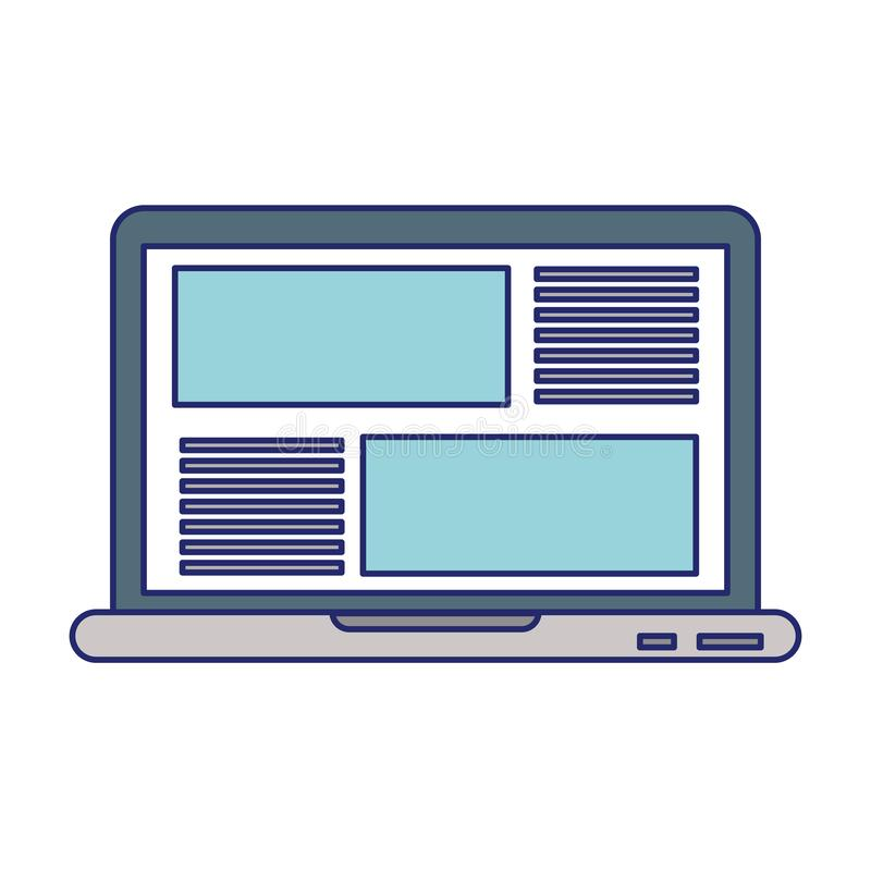 Laptop website browsing isolated blue lines royalty free illustration