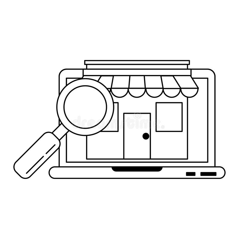 Laptop website browsing shopping in black and white royalty free illustration