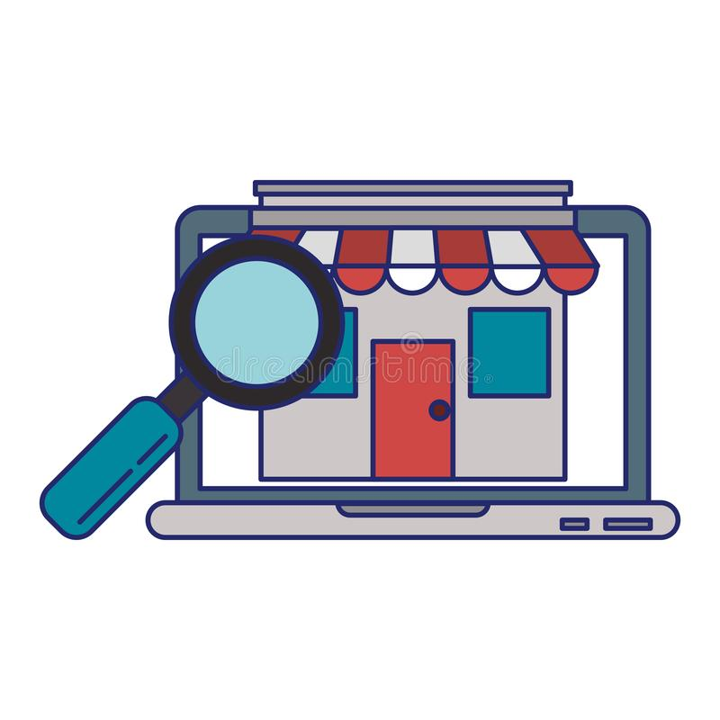 Laptop website browsing shopping blue lines vector illustration