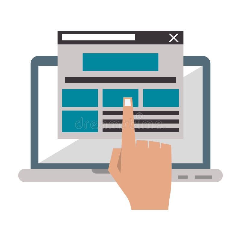 Laptop website browsing shopping royalty free illustration