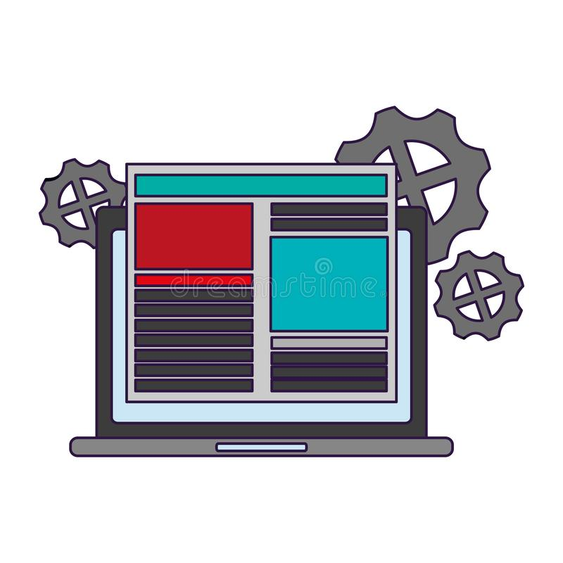 Laptop with website and gears royalty free illustration