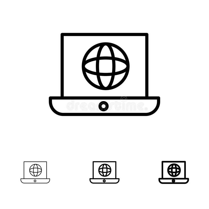 Laptop, Welt, Kugel, technische mutige und dünne schwarze Linie Ikonensatz vektor abbildung