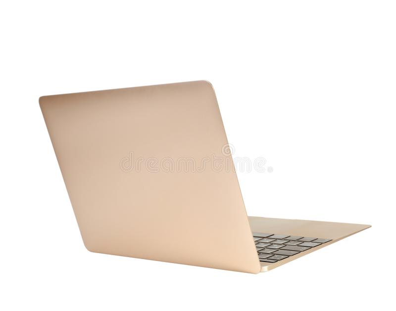 Laptop on white background. Modern technology royalty free stock image