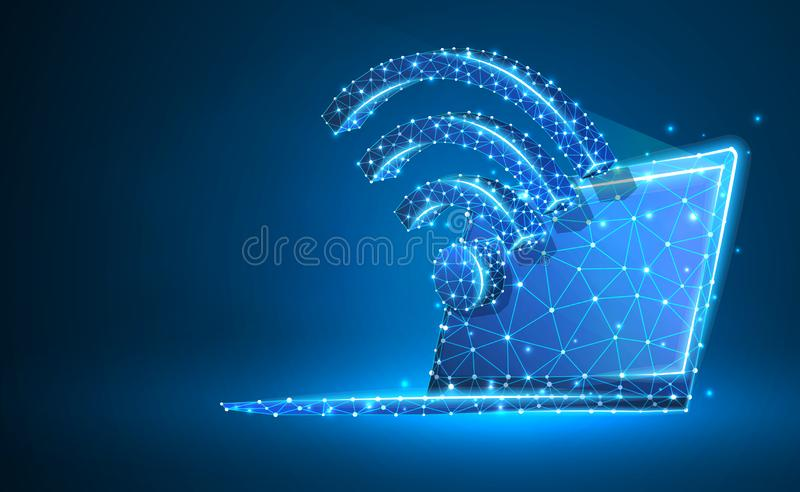 Laptop, wi-fi, notebook symbol. Devices, wireless connection, internet concept. Abstract, digital, wireframe, low poly mesh,. Vector neon 3d illustration stock illustration