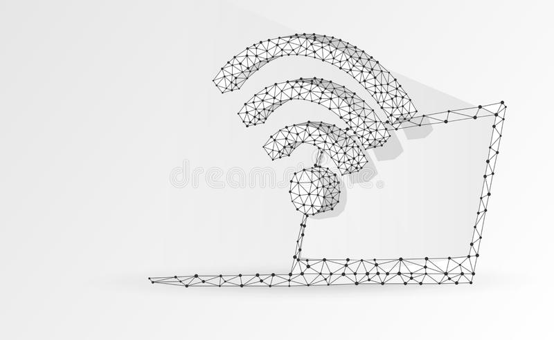 Laptop, wi-fi, notebook symbol. Devices, wireless connection, internet concept. Abstract, digital, wireframe, low poly mesh,. Vector origami 3d illustration royalty free illustration