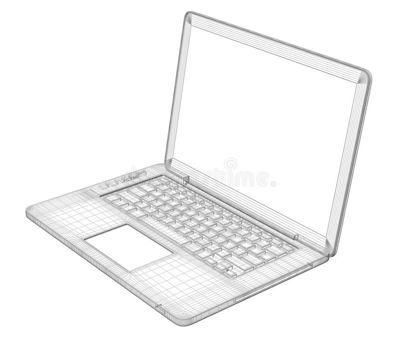 Laptop. Wire frame stock illustration. Illustration of network ...