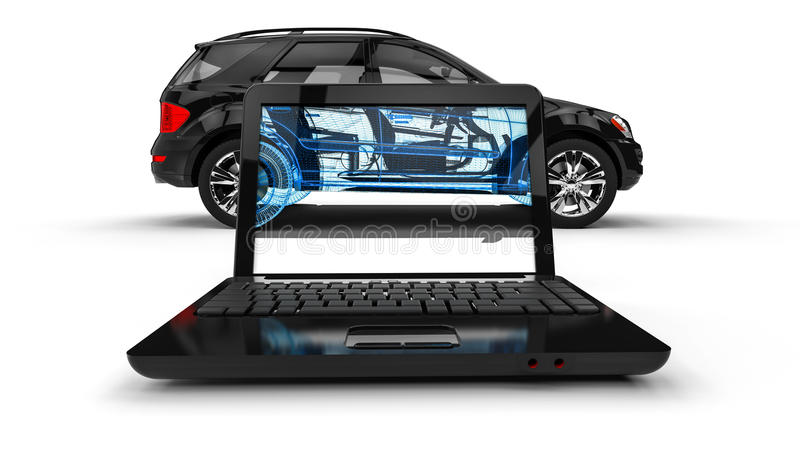 Laptop Wire Frame SUV royalty free illustration