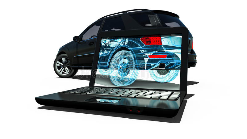 Laptop Wire Frame SUV. 3D render image representing an luxury SUV in wire frame on laptop royalty free illustration