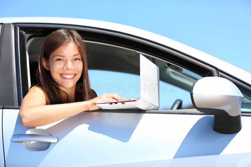 Download Laptop woman in car stock image. Image of outdoors, notebook - 19412797