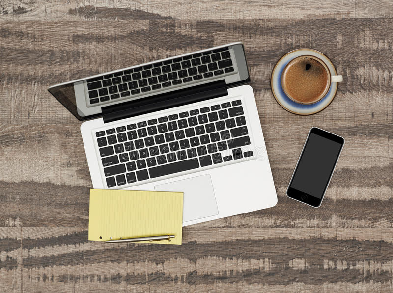 Laptop on working desk stock images