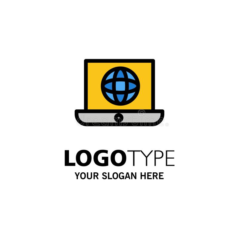 Laptop, World, Globe, Technical Business Logo Template. Flat Color royalty free illustration