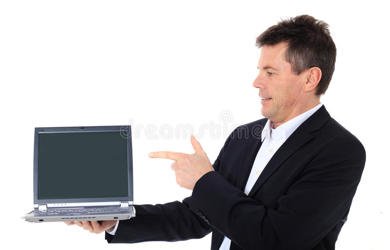 laptop wskazuje sprzedawcy zdjęcie stock