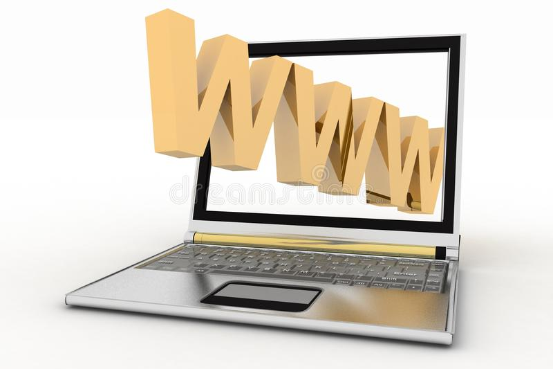 Laptop And WWW Word Stock Photography