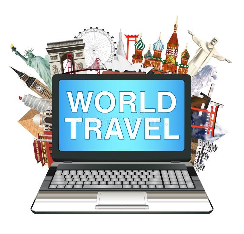 Laptop z światowym podróż punktem zwrotnym na białym tle royalty ilustracja