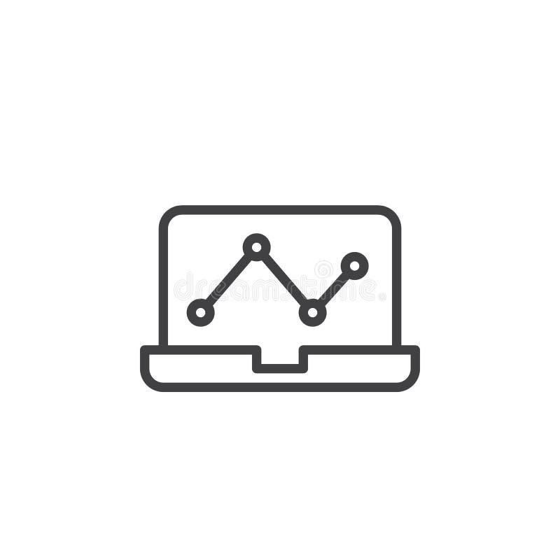 Laptop z analityka wykresu konturu ikoną royalty ilustracja
