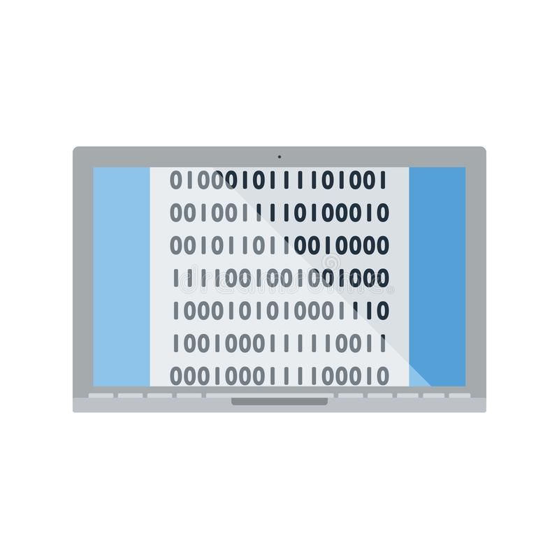 Laptop Z Binarnego kodu ikoną ilustracji
