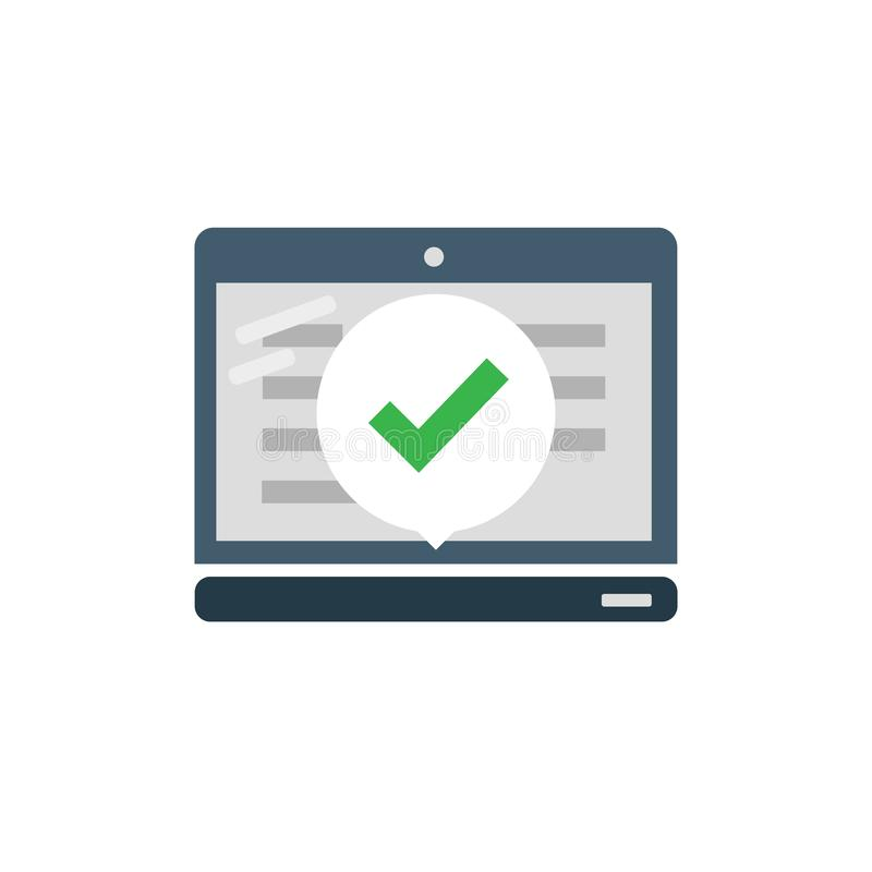 Laptop z checkmark lub cwelicha powiadomieniem w b?blu Zatwierdzony wyb?r Akceptuje checkmark lub zatwierdza budowy ilustraci zap royalty ilustracja