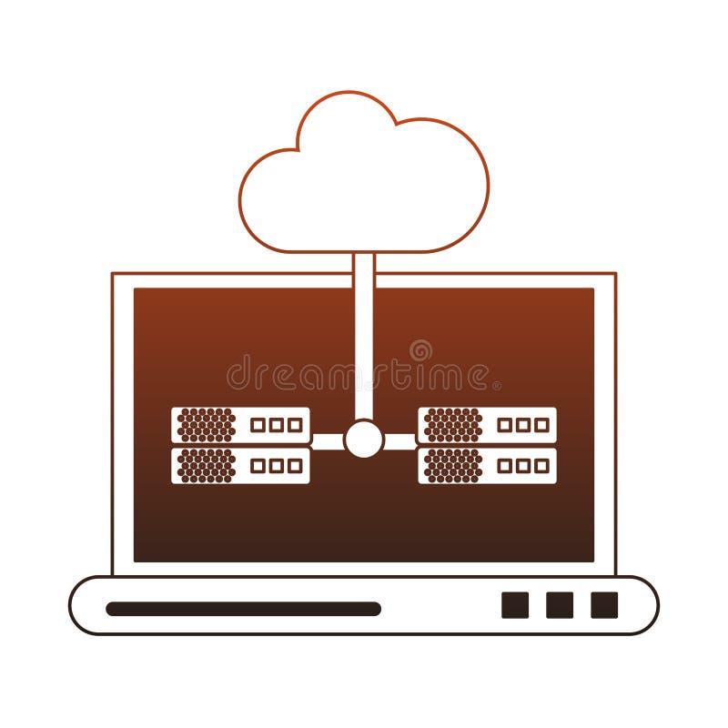 Laptop z chmurą oblicza czerwone linie ilustracji