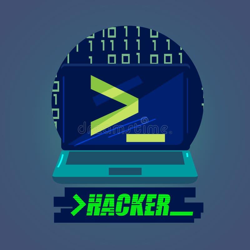 Laptop z codeing typograficzny hackera pojęcie - ilustracji
